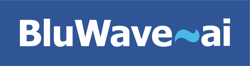 BluWave-ai Logo - White Text, Blue Background