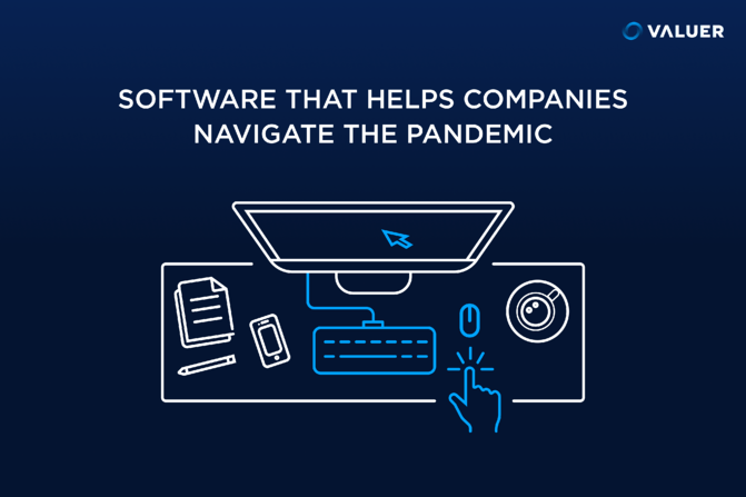 software that helps companies navigate the pandemic. keyboard and computer screen