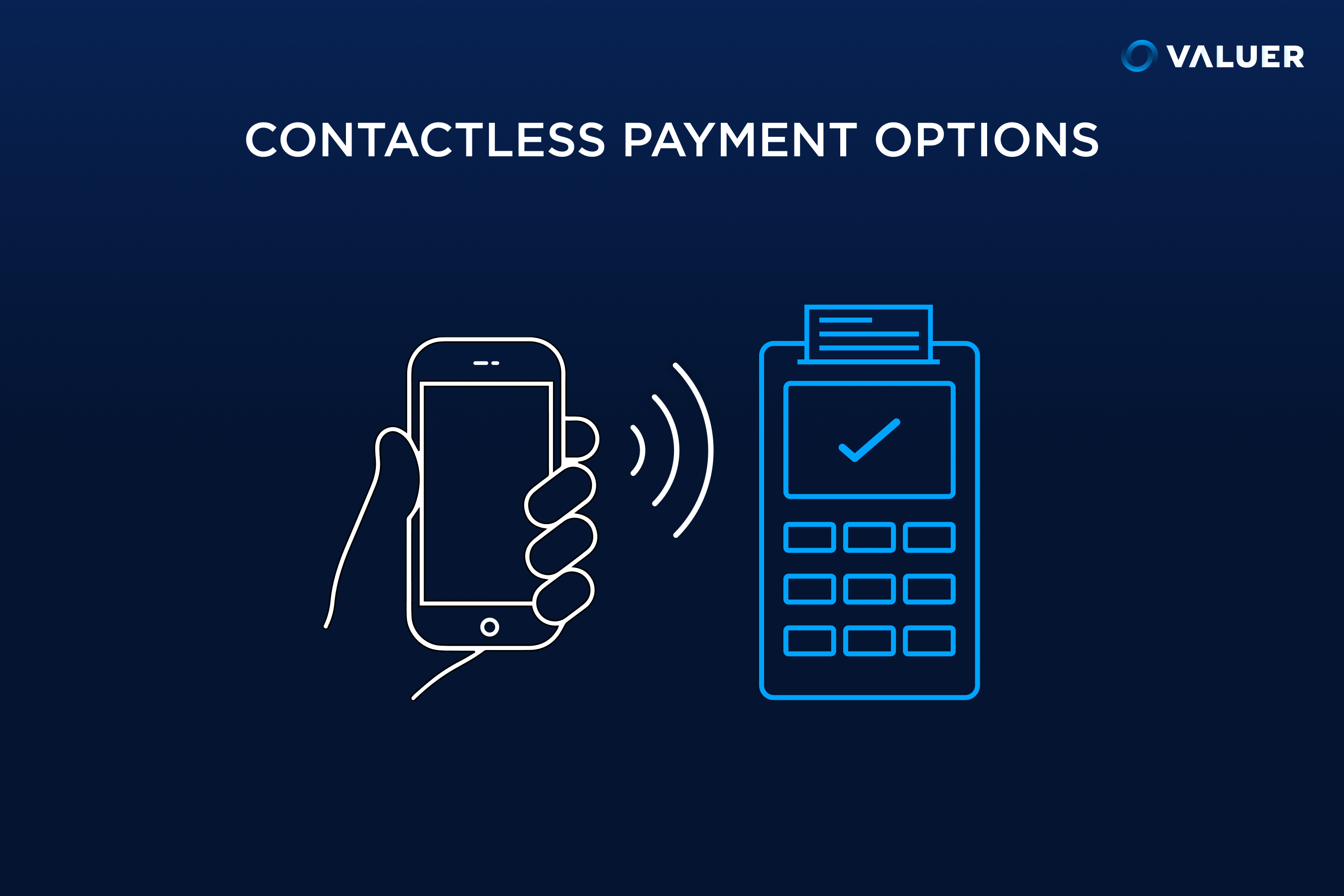 contactless payment options with an image of a phone and contactless payment reader