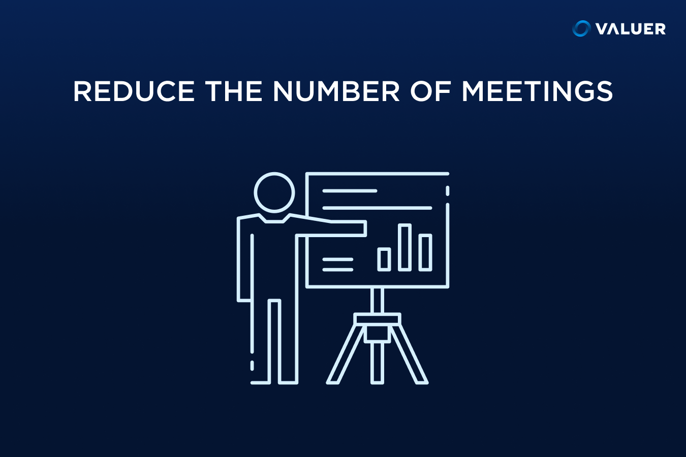 Reduce the number of meetings man pointing to a projector