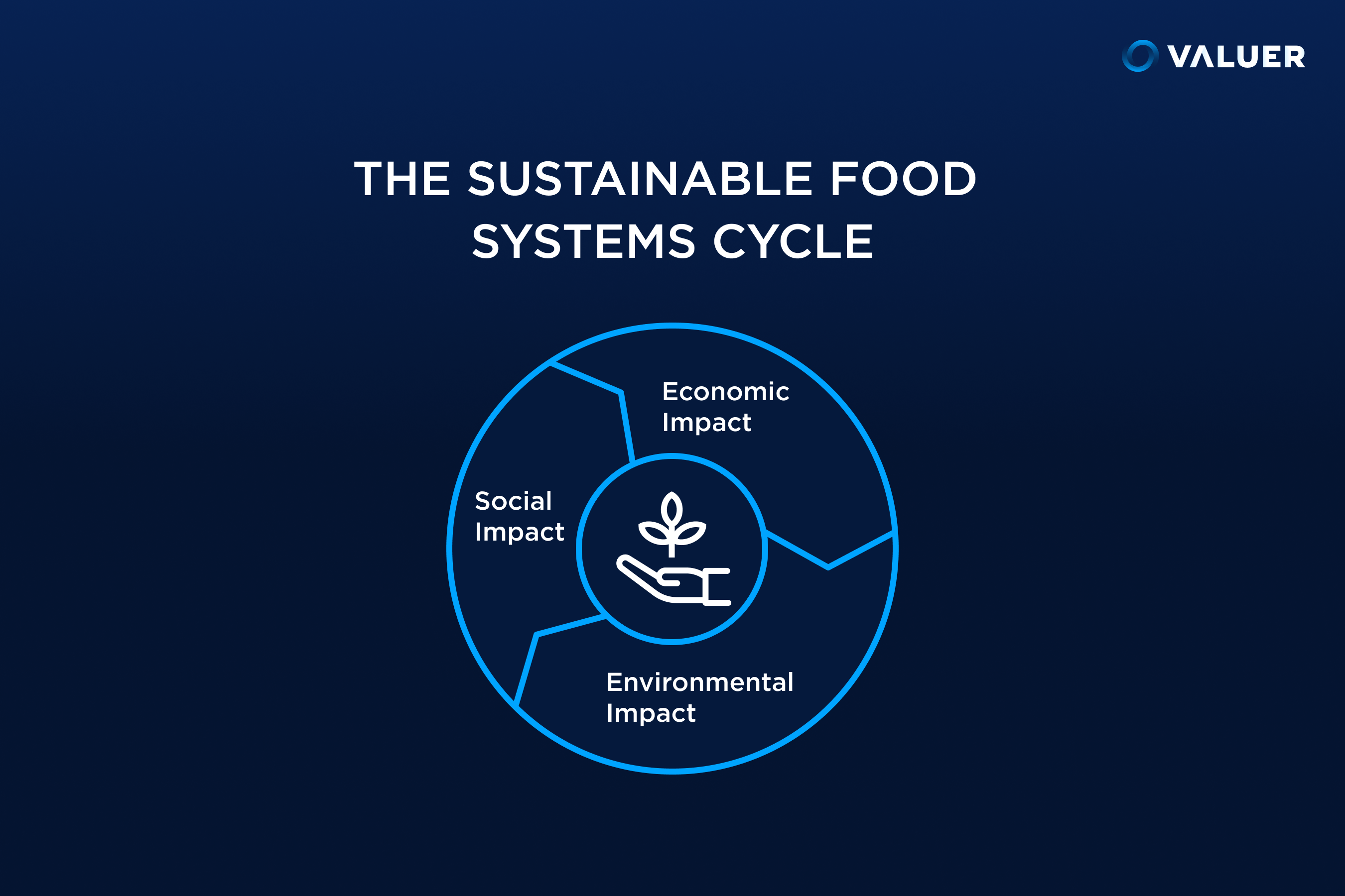 sustainable food systems cycle with 3 impact areas in the pie chart infographic