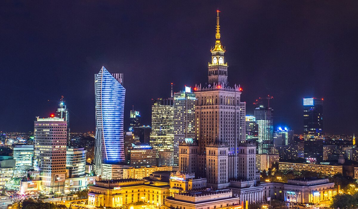 Warsaw, Poland night city with lights