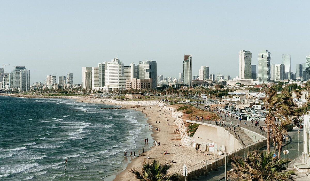 Tel Aviv, Israel city, beach with people