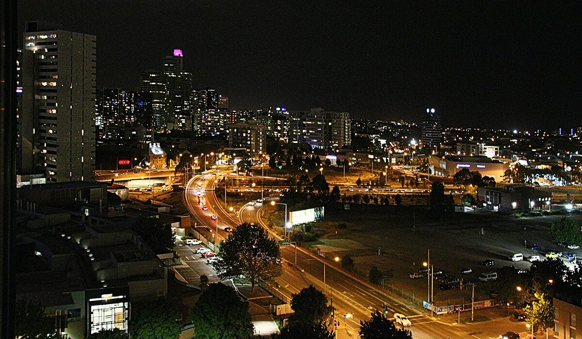 Melbourne, Australia city at night with lights