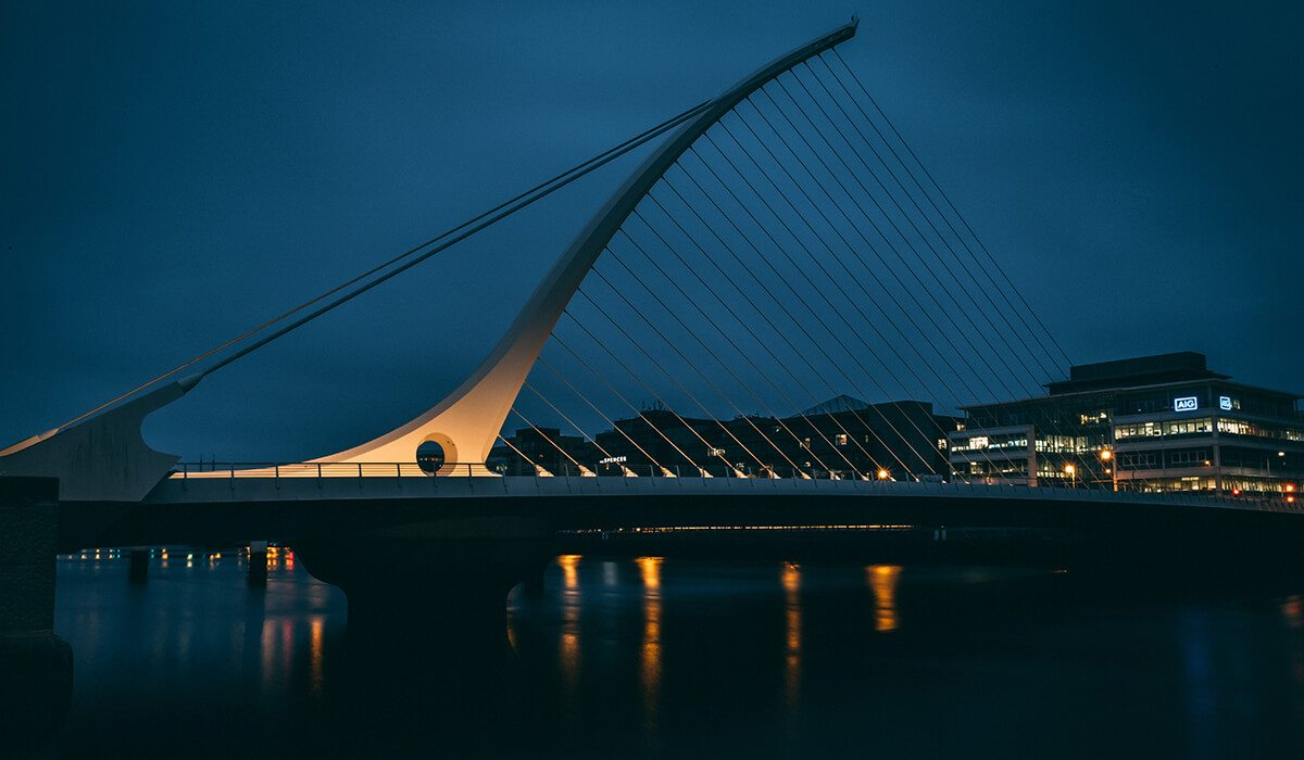 Dublin, Ireland bridge at night with buildings