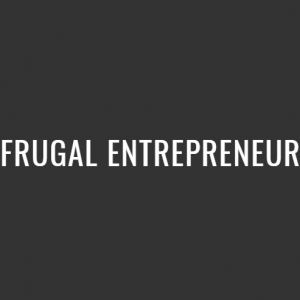 Frungal Entrepreneur white text on a black bakcground