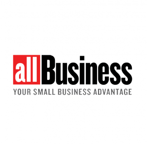 text allbusiness logo your small business advantage with white black and grey letters on a white background with a bit of red on the left side of the logo
