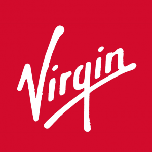Virgin logo with white letters on red background