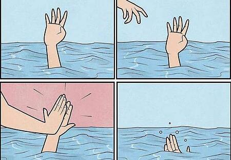 four panel image high five in water