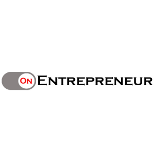 OnEntrepreneur logo with black and red letters with on switch on a white background