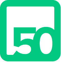 logo with the number 50 in a box, both in green on white background