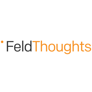 FeldThoughts black and orange letters with orange dot on the left side on a transparent background