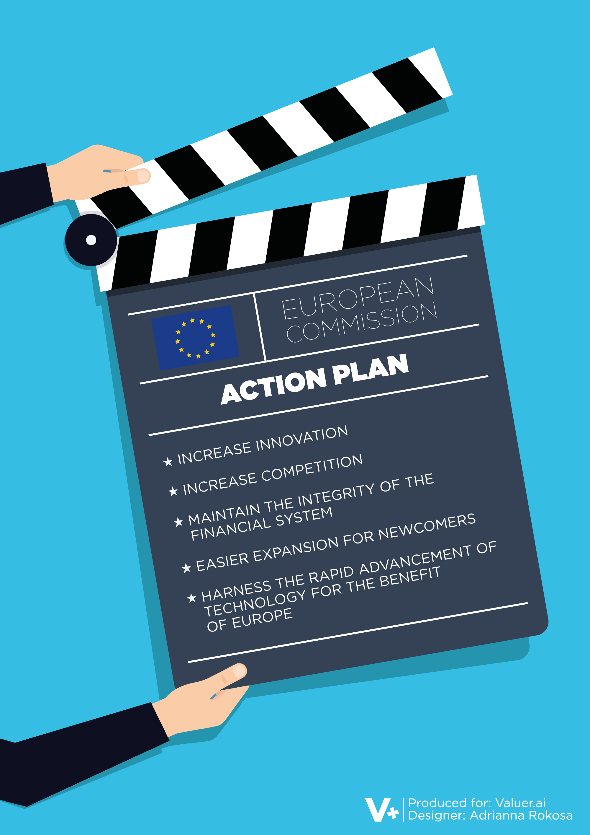 Blue graphic with a European Action Plan