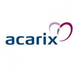 acarix logo blue text, heart shape