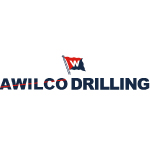 awilco drilling logo black text with red and blue flag
