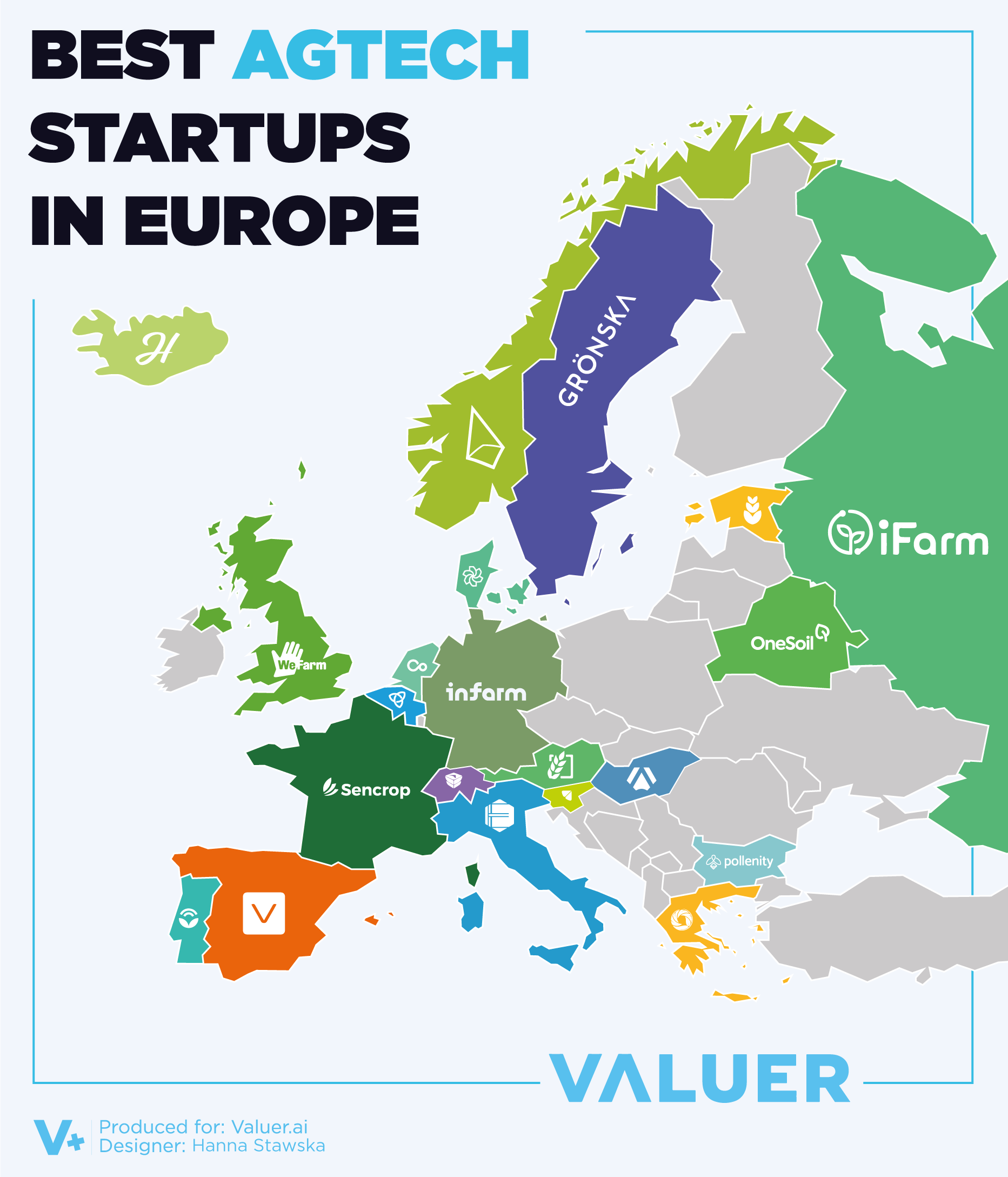 A map of Europe showing the best agriculture technology startups in Europe
