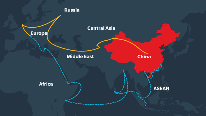 A graphic illustrating the Maritime & Silk road as part of the Silk Road initiative