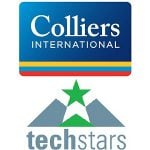 colliers international techstars logo white background green star colourful lines triangle