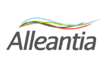 Alleantia written in black letters with blue, green, red and black lines above