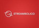 Streambolico written with white letters on a red background.