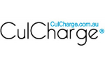 CulCharge written in black on a white background. Culcharge.com.au written in blue above.