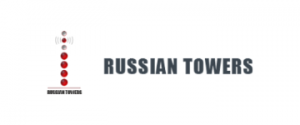 Russian Towers written in black on a white background with a red tower on the left