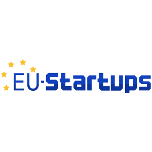 blue letters with yellow stars on the left side of the logo on a transparent background