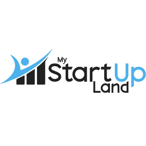 My Startup Land logo with black and blue letters with black and blue figures on the left side on the transparent background