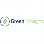 green biologics logo blue and green text, blue circle with green lines