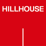 hillhouse logo white text and line with red background
