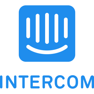Intercome text and logo with blue letters and blue figure in the middle
