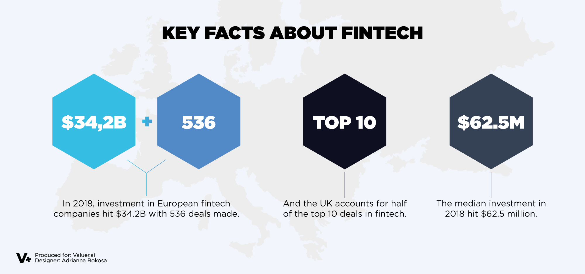A graphic with the world map and facts on fintech placed on top
