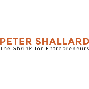 Peter Shallard logo text the shrink of entrepreneurs black and orange letters on a grey background