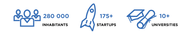 statistics on the number of inhabitants startups and universities black text blue images of rocket people and graduation cap and paper ljubljana slovenia