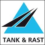 tank und rast logo black and light blue triangular shapes