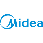midea logo blue text with white background