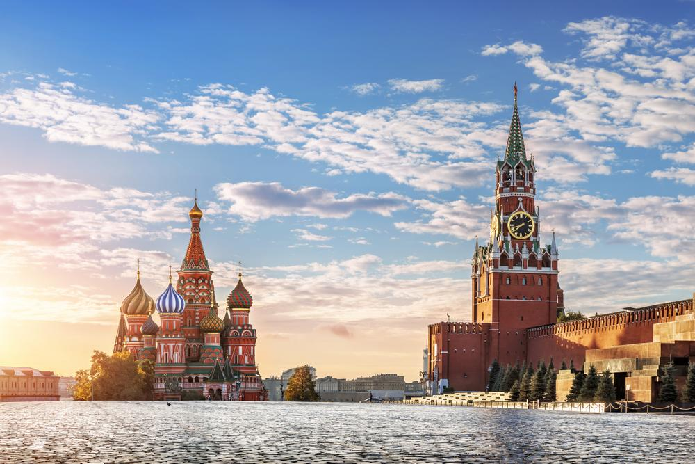 view of red quare in moscow russia st basil's cathedral sunset cloudy blue sky