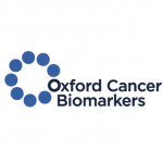 oxford cancer biomarkers logo blue text and little circles