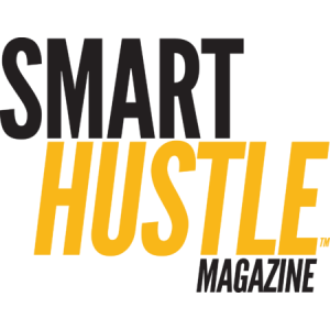 smart hustle magazine logo with blue and yellow letters on a transparent background