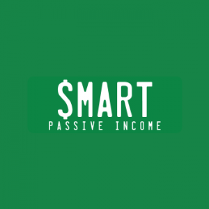 smart passive income logo text with white letters with dollar sign on a green background