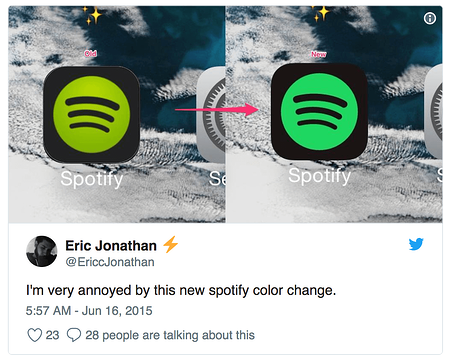 Spotify example of color change tweet