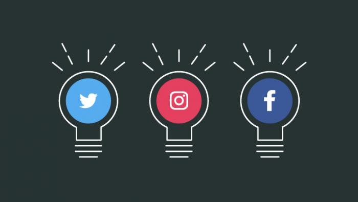 Social Media logos in lightbulb icons
