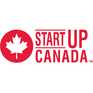 startup canada logo with red letters and a transparent leaf in red circle on transparent background