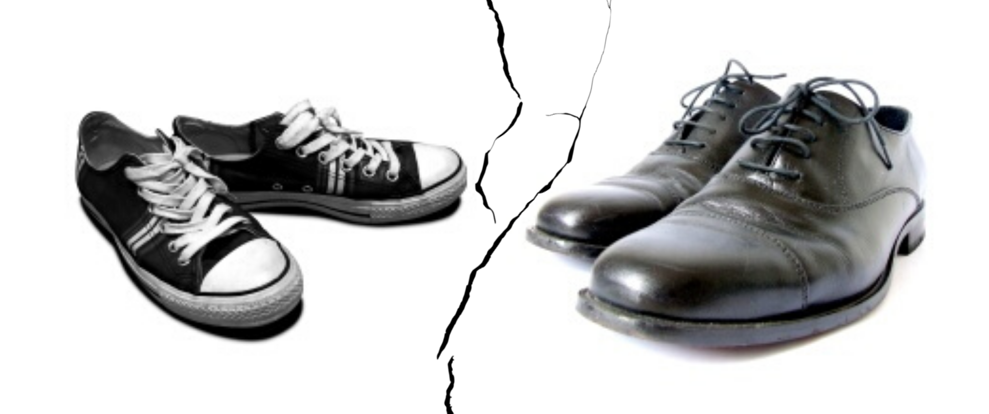 A pair of black converse shoes to the left divided by a crack in the screen with a pair of black formal shoes to the right