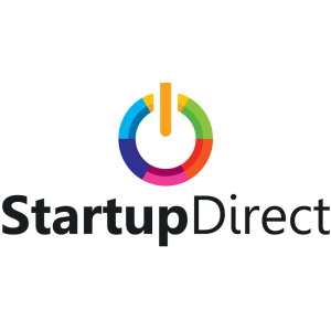 StartupDirect black text colorful logo on a transparent background