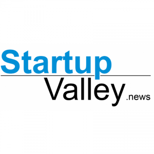 Startup valley news logo with blue and black on a white background