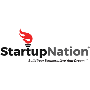 StartupNation logo black text with red and black touch on top of the t letter