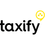 taxify logo black text and yellow circle