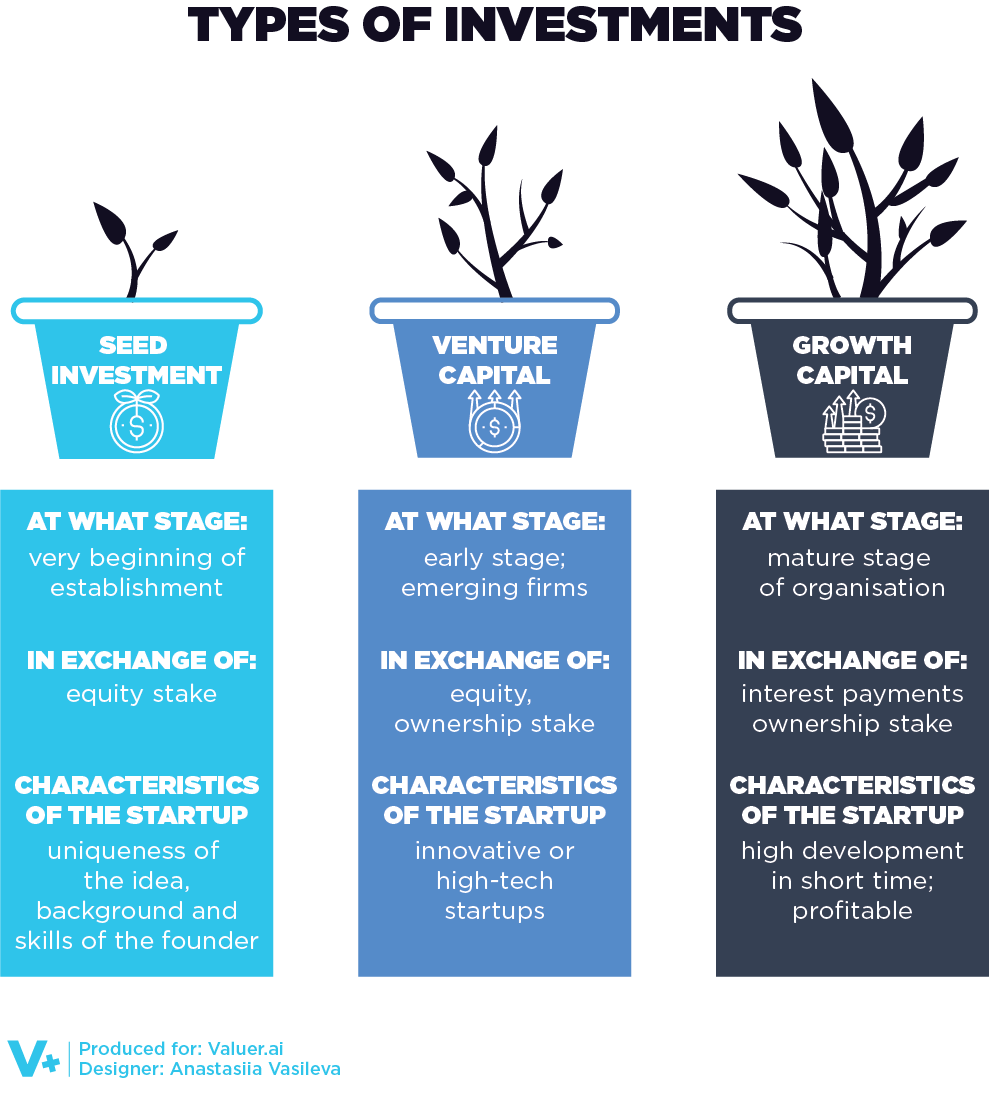 An infographic depicting the types of investments received by startup unicorns