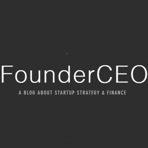 FounderCEO a blog about startup strategy & finance white text on a black background